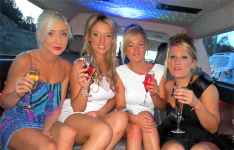 4 girls having a toast with champagne