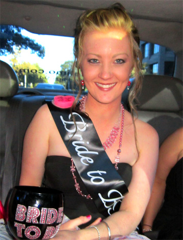 Bride to be smilling on her way to Moonee Ponds