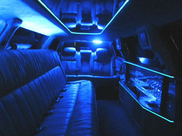 Inside the Holden 10 seater stretch limousine