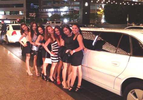 All lined up at the front of a limousine in Melbourne